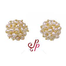 pearl studs pearl earrings seed pearl studs in gold colour metal