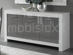 Buffet bahut MADONNA 3 portes blanc laque gris laque chez Mobistoxx
