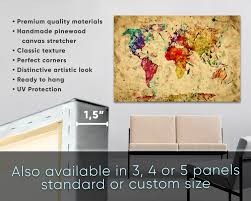 World Map Canvas Art by Large Colorful Vintage Watercolor World Map At Texelprintart Com