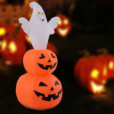Lighted Halloween Lawn Decorations by Goplus 4ft Halloween Inflatable Ghost Stacked Pumpkins Lighted