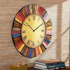 oversized home decor large wall clock vintage style round antiqued metal side oversized