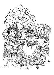 raggedy ann andy tea party coloring netart