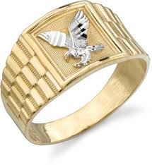 mens gold ring men s eagle ring 14k two tone gold