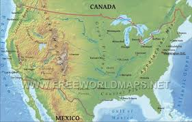 North America Map Labeled by United States Physical Map