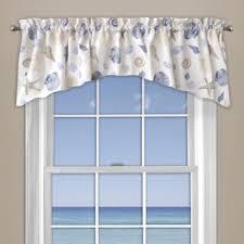 Bathroom Window Valance by Seashore Coral Window Curtain Valance In Blue Bedbathandbeyond