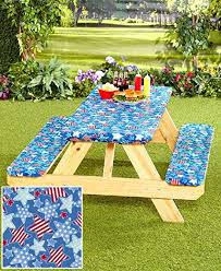 elasticized picnic table covers amazon com 3 pc picnic table covers americana stars garden