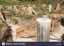 building site foundations of a house concrete foundations of the
