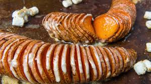 thanksgiving yams with marshmallows recipe marshmallow hasselback sweet potatoes recipe traeger grills