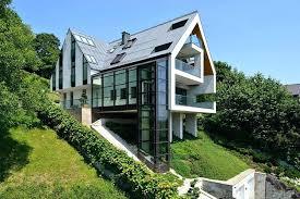 walkout basement designs modern hillside houses hillside houses with garage design ideas