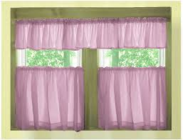 Solid Color Valances For Windows Solid Violet Purple Café Style Tier Curtain Includes 2 Valances