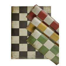 Retro Linoleum Floor Patterns by Checked Vinyl Floor Cloth
