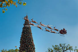 Flying Reindeer Christmas Decorations by Santa Claus Reindeer Flying Tall 90 Foot Christmas Trees Xmas