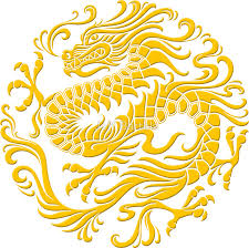 traditional yellow red chinese dragon circle
