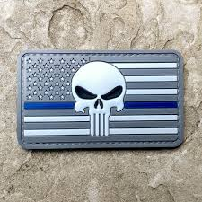 Subdued American Flag With Thin Blue Line Punisher Pvc Morale Patch Subdued Series Neo Tactical Gear