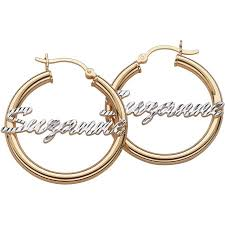 personalized earrings personalized sterling silver diamond cut name 2 tone hoop earrings