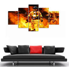 firefighter home decorations firefighters canvas painting print living room decorations for home