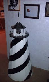lighthouse for project has a solar lamp upside down