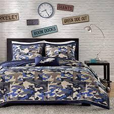 Blue Camo Bed Set Reversible Boys Blue Camo Print Coverlet