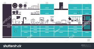modern kitchen interior furniture layout vector stock vector