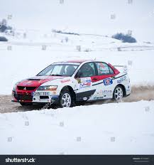 mitsubishi evo rally car utena january 30 mitsubishi lancer evo stock photo 357776849