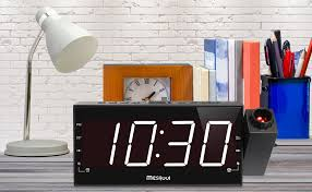 Clock That Shines Time On Ceiling by Amazon Com Upgraded Version Mesqool Am Fm Digital Dimmable