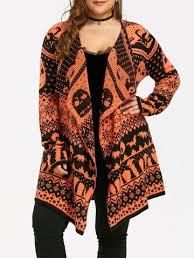 skull sweater black orange 5xl plus size skull sweater drape cardigan