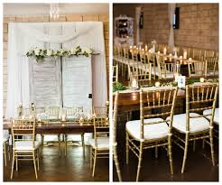 Gold Chiavari Chair Brown Wooden Farm Tables With Ivory Florals And Gold Chiavari