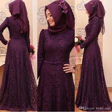 elegant muslim long sleeve evening dresses hijab lace prom dresses
