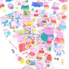 wholesale 5pcs lot pink peppa pig stickers for kids home wall
