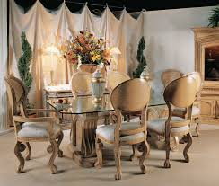 Dining Room Sets With Glass Table Tops Craving Brown Wooden Base With Rectangle Glass Top Combined With