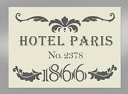 paris hotel shabby chic style mylar stencil a4 297x210mm wall art