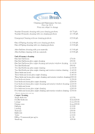 Cleaning Service Agreement Template 7 Maid Service Price List Memo Templates