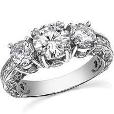 3 engagement ring 3 antique brilliant moissanite engagement ring