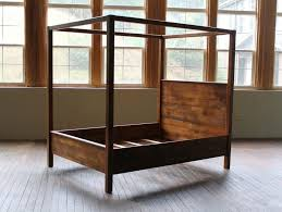 Wood Canopy Bed Custom Canopy Bed From Rustic Reclaimed Pine Finished In Brown