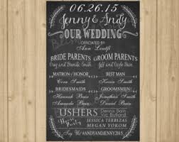 wedding program board chalkboard wedding program signrustic wedding program