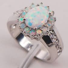 opal silver rings images White fire opal australian flower ring atperrys jpg