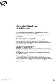bureau onem demande d allocations de crédit temps pdf