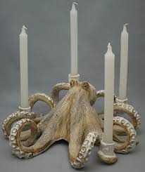 octopus candleabra ceramic sculpture beach decor coastal home