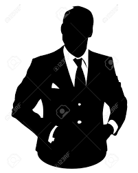 graphic illustration of man in business suit as user icon avatar