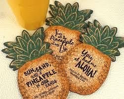 hawaiian themed wedding favors personalized pineapple cork coaster luau themed and