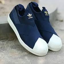 Sepatu Adidas Slip On adidas superstars slip on navy putih sepatu sport