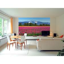 ideal decor 100 in x 0 25 in tulips wall mural wall murals tulips wall mural