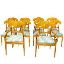 Birch Dining Chairs Biedermeier Set Of Six Antique Swedish Flame Golden Birch Dining
