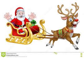 christmas cartoon santa and reindeer sleigh stock vector image