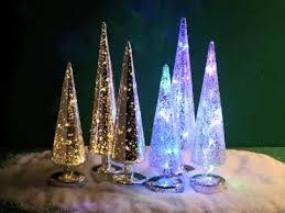 80048 20 set of 3 led mercury glass trees