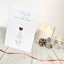 our first christmas as mr and mrs personalised christmas card