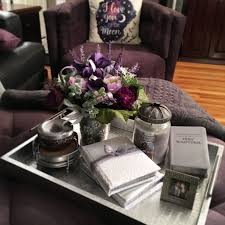silver coffee table tray ottoman or coffee table tray styling decor purple homedecor