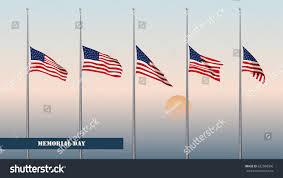 Golden Dawn Flag Memorial Day Card Flags Usa Halfmast Stock Vector 632988506
