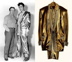 elvis and his custom gold lame nudie suit the2banditsxnudie for