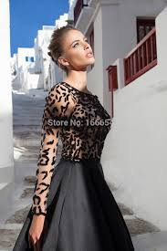 2015 best selling black long evening dress high neck long sleeve